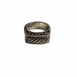 Brighton Size 8 SS Raised Fluted Dome Scroll Ring